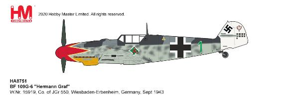 BF 109G-6 Die Cast Model JGr 550, Wiesbaden-Erbenheim, Germany, Sept 1943 (1:48)